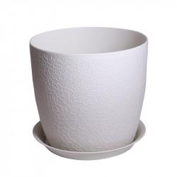 Горшок пластиковый ВЕРОНА D140мм с подставкой, белый ротанг