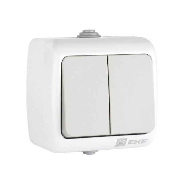 выключатель 2-клавишный мурманск 10а ip54 серый efv10-023-30-54