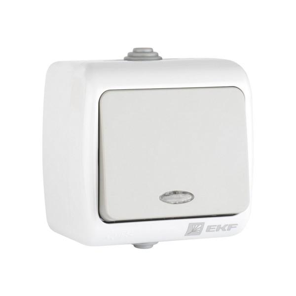 выключатель 1-клавишный с индикатором мурманск 10а ip54 серый efv10-121-30-54
