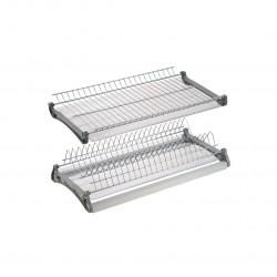Сушка для посуды двухуровневая, алюм. профилем 800мм VAR800