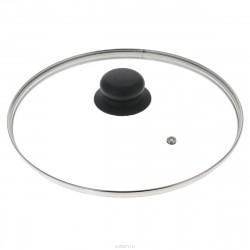 Крышка стеклянная 26см низкая с черной ручкой (B26CL) ALL126