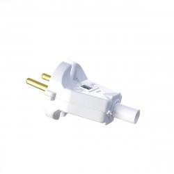 Вилка электрическая б/з 6А 250В белая В 6-004