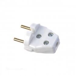Вилка электрическая б/з 6А 250В с кембриком белая В 6-001