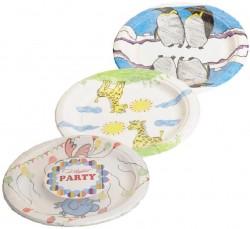 Тарелка  d230 мм дизайн Рисуют дети, mix, бумага 6 шт/уп