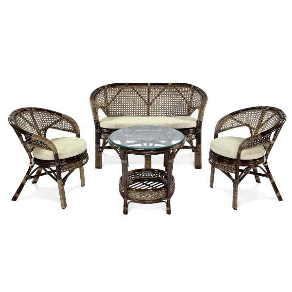 комплект для террасы pelangi (стол + 2 кресла + диван)