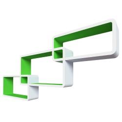 """Комплект полок """"Нью-Йорк"""" цвет белый/зелёный, 44х24х10см; 40х20х10см; 36х16х10см; толщина 1,5"""