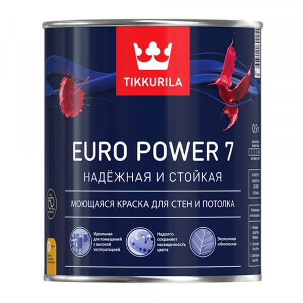 краска tikkurila euro power 7 база a белая мат. 9л краска в д tikkurila для обоев и стен моющаяся euro trend матовая 0 9л база a