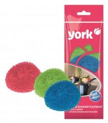 Губки для посуды YORK  3шт пласт.цвет 0101/Б-П/