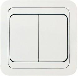 Выключатель 2клав. MAKEL Mimoza скрытый оконечный с рамкой, белый, 12003