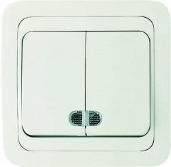 Выключатель 2кл MAKEL Mimoza с подсветкой белый/белый 12023