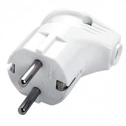 Вилка электрическая с/з 16А угловая белая Универсал А105