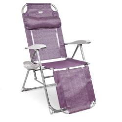 Кресло-шезлонг 3 с подножкой складное 8 положений спинки (чехол-в ассортименте)