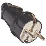 Вилка электрическая с/з 16А 250В черная Универсал A1010