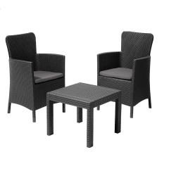 Набор мебели SALVADOR стол + 2 кресла графит
