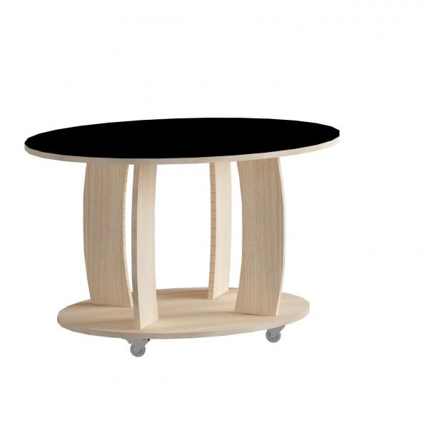 стол журнальный ls 738, 05.01 (корпус-ясень светл,стекло-черный)