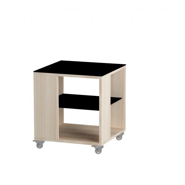 стол журнальный ls 732, 05.01 (корпус-ясень светлый,стекло-черный)