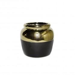 Ваза керамическая Аванта 10,5см черный/золото 8054