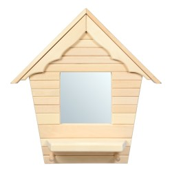 Зеркало с полочкой и вешалкой/2 рожка Домик 54*57 см, липа, зеркало 20*20 см Банные штучки