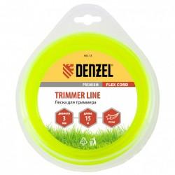 Леска для триммера 3,0 (15м) звездочка FLEX CORD, Denzel 96113
