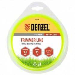 Леска для триммера 1.6 (15м) круглая FLEX CORD, Denzel 96106