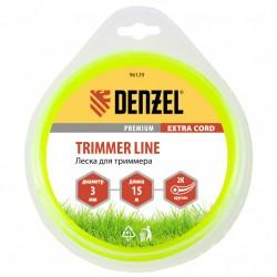 Леска для триммера 3.0 (15м) круглая двухкомпонентная EXTRA CORD, Denzel 96129