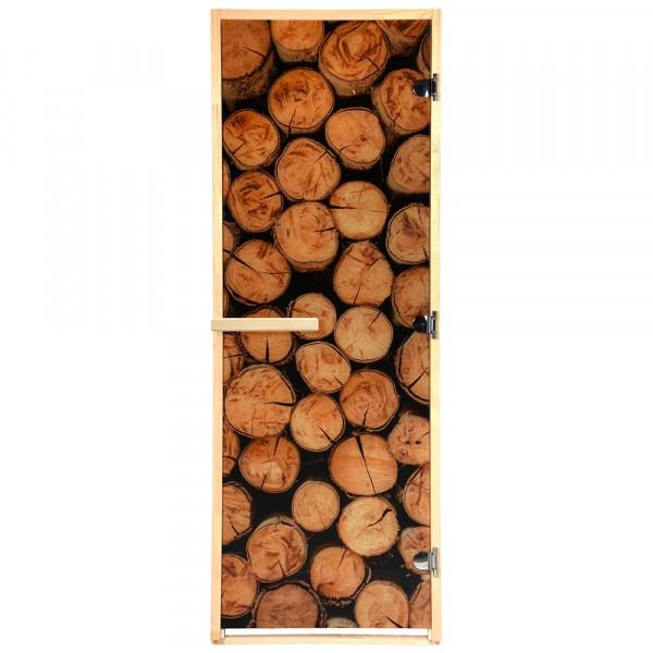 Фото - дверь из стекла с фотопечатью бревна 1,9х0,7 м, 8 мм, коробка из хвои, 3 петли банные штучки дверь для сауны стеклянная doorwood dw01028 восточная арка прозрачная 800х2000 мм