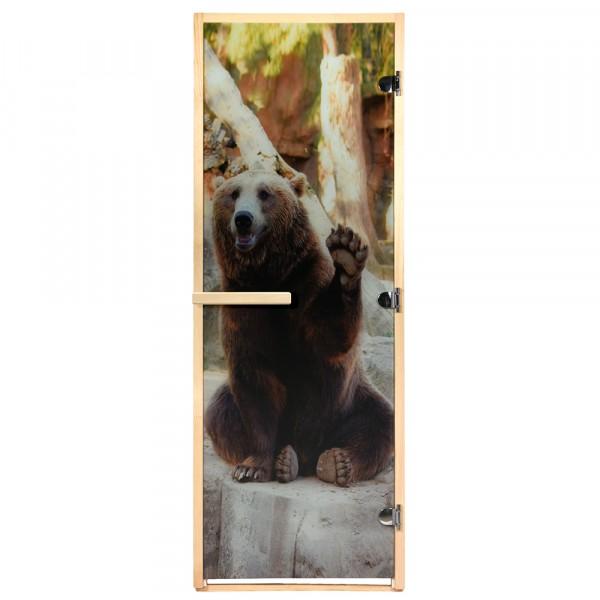 Фото - дверь из стекла с фотопечатью бурый медведь 1,9х0,7 м, 8 мм, коробка из хвои, 3 петли банные штучки дверь для сауны стеклянная doorwood dw01028 восточная арка прозрачная 800х2000 мм