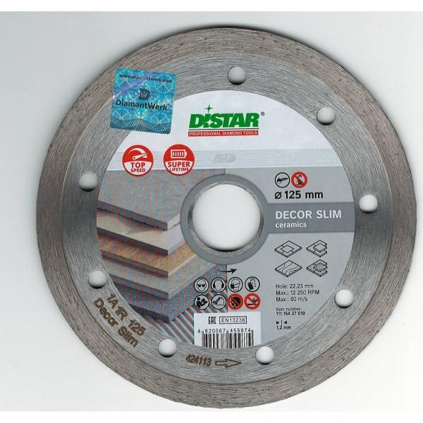диск алмазный 125мм*22.23мм сплошной сухой, decor slim distar 11115427010