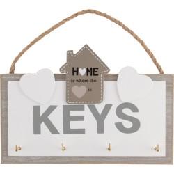 Ключница настенная 20,5x2,5x13,7см Волшебная страна 4крючка с подвесом 005846