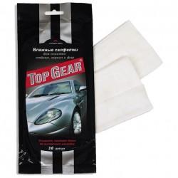 Салфетки для авто влажные 30шт (для стекол, зеркал, фар) TOP GEAR
