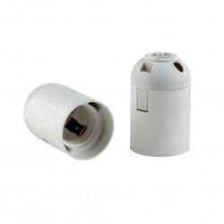Патрон E27 подвесной гладкий белый термостойкий пластик