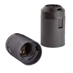 Патрон E27 подвесной гладкий черный термостойкий пластик