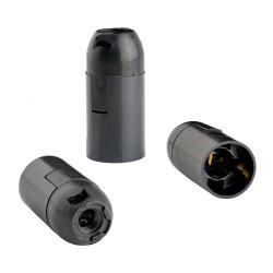 Патрон E14 подвесной гладкий черный термостойкий пластик