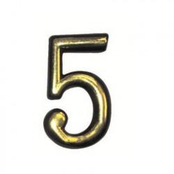 """Цифра """"5"""" самоклеящаяся, цвет золото"""