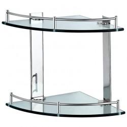 Полка стеклянная угловая двухъярусная, нерж. сталь, стекло CG-05