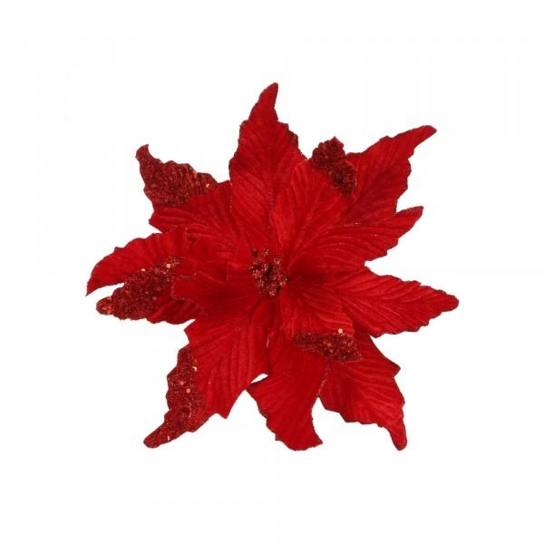 клипса-декор рождественский цветок 27*35см house of seasons красный 83903