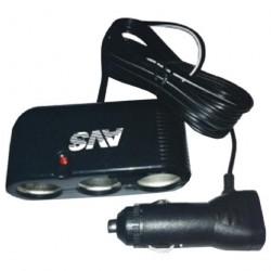 Разветвитель прикуривателя автомобильный 12/24В (3 выхода) AVS CS301