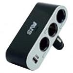 Разветвитель прикуривателя автомобильный 12/24В (3 выхода) с USB AVS CS312U
