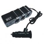 Разветвитель прикуривателя автомобильный 12/24В (3 выхода) С USB AVS CS314U
