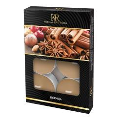 Свеча ароматическая чайная малая 6шт Корица Kukina Raffinata 202875