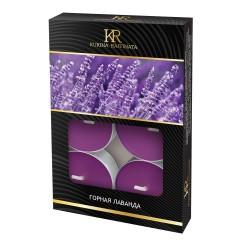 Свеча ароматическая чайная малая 6шт Горная лаванда Kukina Raffinata 202934