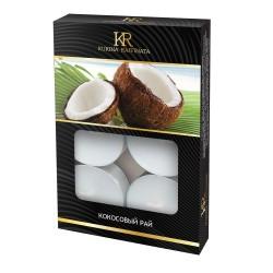 Свеча ароматическая чайная малая 6шт Кокосовый рай Kukina Raffinata 202794