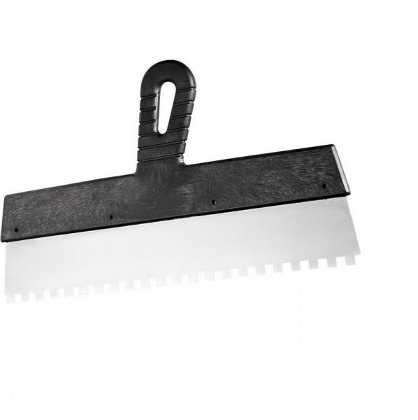 шпатель зубчатый 250мм зуб 4*4мм, нерж., с пласт. ручкой 85457