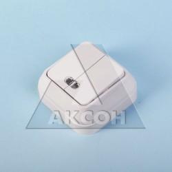 Выключатель 2кл MAKEL накладной с подсветкой белый 45123