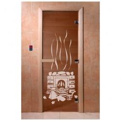 Дверь для сауны DoorWood 700*1900мм, стекло, рисунок Банный день ,ручка, петли
