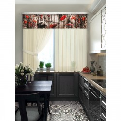 Комплект штор для кухни Париж 101552 1,4*1,8м/2шт /2,5*0,45/ 2подхвата