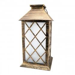 Фонарь декоративный ЛЮЧИЯ Antique с мерцающей светодиодной свечей на 3xAA антик-бронза
