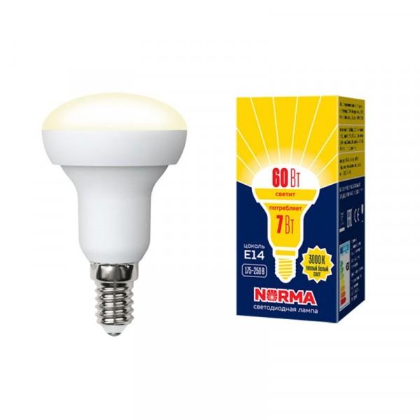 лампа светодиодная volpe norma led-r50-7w е14 рефлекторная 3000к