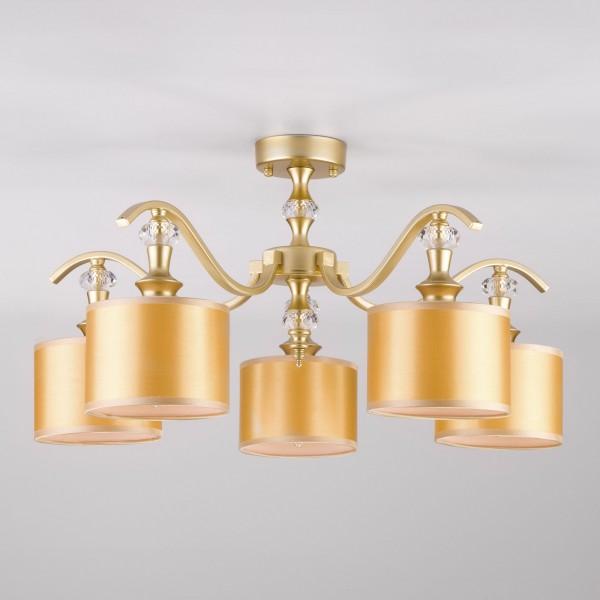 светильник потолочный eurosvet ofelia 60070/5 е14 5x40вт ip 20 перламутровое золото