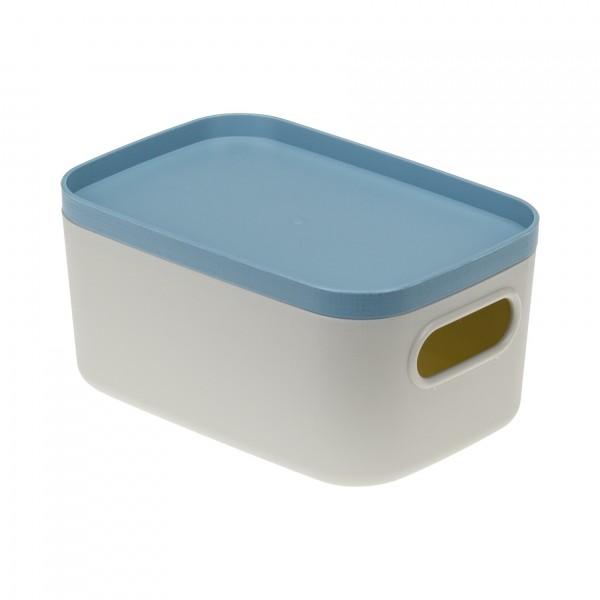 коробка 0,65л инфинити идея с крышкой серо-голубой